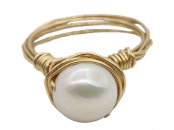 Concise Genuine Natural Pearl Ring In 14K Yellow Gold Plated MR0007