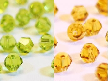 100st Tolstoy 4mm crystal bicone Olivine/LtSmTopaz - Duo Mix
