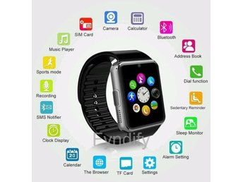 Bluetooth Smart Watch Wristwatch Simcard Svart