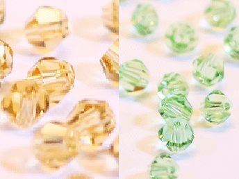 100st Tolstoy 4mm crystal bicone LtColTopaz/Peridot - Duo Mix
