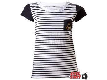 Assassins Creed Striped Tjej T-shirt Svart & Vit (Small)