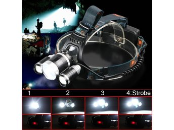Headlamp CREE XML T6 x 3 LED 4 Modes Rechargeable Lumens :1000 W: 30 - 60