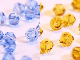 100st Tolstoy 4mm crystal bicone LtSapphire/LtSmTopaz Duo Mix