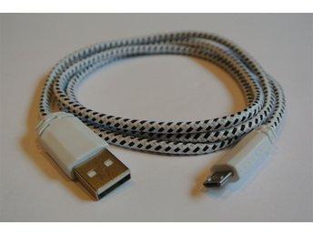 1m VIT textilklädd micro-USB till USB-kabel för laddning och dataöverföring - Mölndal - 1m VIT textilklädd micro-USB till USB-kabel för laddning och dataöverföring - Mölndal