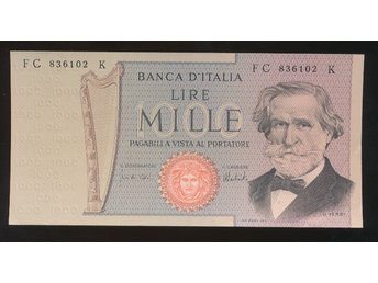 Italy 1000 Lira UNC se bild - Västra Frölunda - Italy 1000 Lira UNC se bild - Västra Frölunda