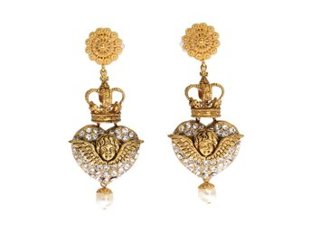 Dolce & Gabbana - Gold Crystal Heart Crown Dangling Clip On Earring