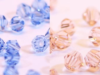 100st Tolstoy 4mm crystal bicone LtSapphire/PeachRose Duo Mix