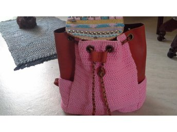 Elliot Mann Pink Beaded Leather Accent Backpack  handbag BP jane