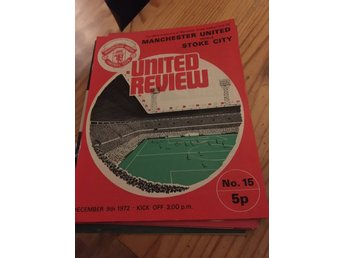 FOTBOLL Program Manchester United FC v Stoke City FC 9/12 1972 Old Trafford
