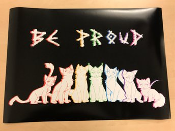 Grafisk poster A2 Be Proud (rainbow cats)