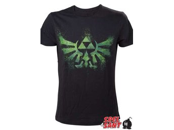 Nintendo Zelda Green Triforce T-Shirt Svart (X-Small)