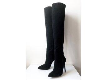 Overknee stövlar boots lårhöga skinn mocka zara knähöga
