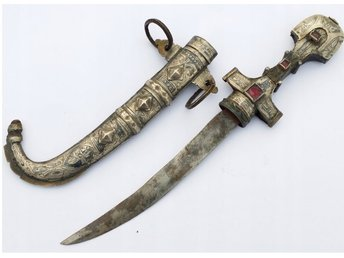 Dagger Arabic 19th Century Original - Beautiful silver decorations