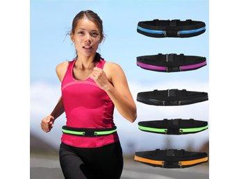 Midjeväska elastiskt löparbälte väska för löpning dubbla fickor - Blå - Hong Kong - Midjeväska elastiskt löparbälte väska för löpning dubbla fickor - Blå - Hong Kong