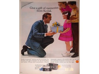 KODAK GIVE A GIFT OF MEMORIES PICTURES TIDNINGSANNONS Retro 1968