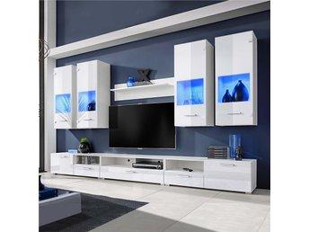 Vardagsrumsset vitt med blå LED-belysning 8 delar - Am Venray - Vardagsrumsset vitt med blå LED-belysning 8 delar - Am Venray