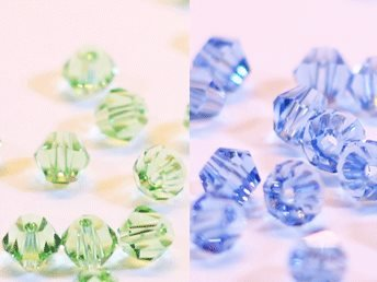 100st Tolstoy 4mm crystal bicone Lt Sapphire/Peridot -Duo Mix