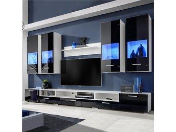 Vardagsrumsset svart med blå LED-belysning 8 delar - Am Venray - Vardagsrumsset svart med blå LED-belysning 8 delar - Am Venray