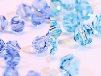 100st Tolstoy 4mm crystal bicone LtSapphire/Aquamarine - Duo Mix