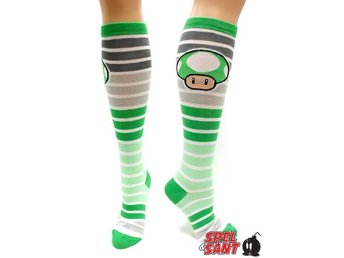 Nintendo Green Mushroom Striped Knästrumpor Vit (One-Size)