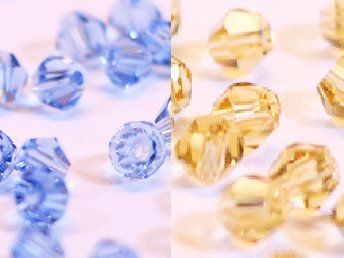 100st Tolstoy 4mm crystal bicone LtSapphire/LtCoTopaz - Duo Mix