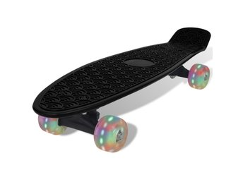 Svart retro-skateboard med LED-hjul