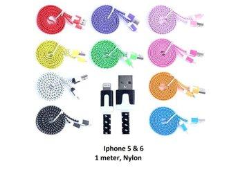 1 Meter Trasselfri kabel för iPhone 5 & 6 Slitstark Nylon VIT - Malmö - 1 Meter Trasselfri kabel för iPhone 5 & 6 Slitstark Nylon VIT - Malmö