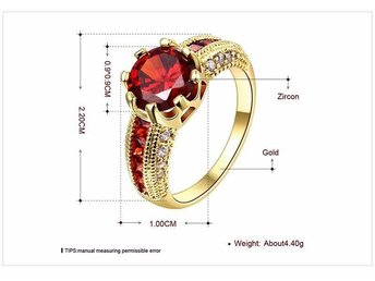 Luxurious Ruby Jewelry Wedding Engagement Accessories 18K Gold Plated