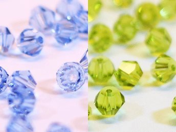 100st Tolstoy 4mm crystal bicone Lt Sapphire/Olivine -Duo Mix