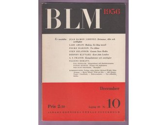 BLM (Bonniers Litterära Magasin) nr 10 1956.