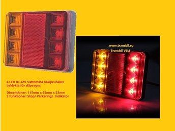 Javascript är inaktiverat. - Götene - 2 st (V och H) LED baklykta för släpvagn 8 LED DC12V Vattentäta baklykta för släpvagn Dimensioner: 115 mm x 95mm x 23mm 3 funktioner: Stop/ Parkering/ Indikator blinker - Götene