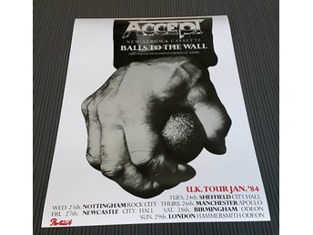 ACCEPT BALLS TO THE WALL UK TOUR 1984 PHOTO POSTER