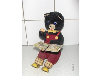 Cubby The Reading Bear - Äldre Mekanisk Leksak Made in Japan Vintage Retro