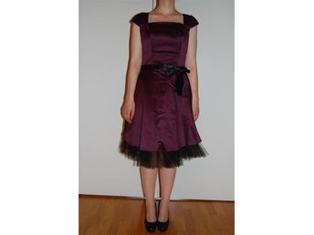 Custome tailored cocktail dress with bow belt and tulle, Size M