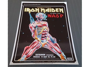 IRON MAIDEN W.A.S.P ISSTADION STOCKHOLM 1986 PHOTO POSTER