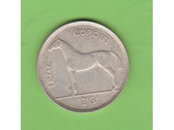 IRLAND / IRELAND    1/2  Crown silver med häst-motiv / coin depicting horse