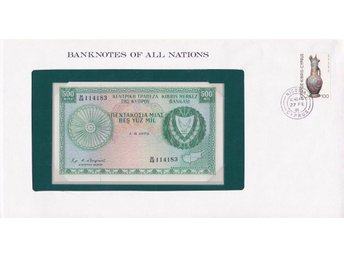 Franklin Mint Banknotes of All Nations + stamp Cyprus 500 mil (1979) P-42 UNC