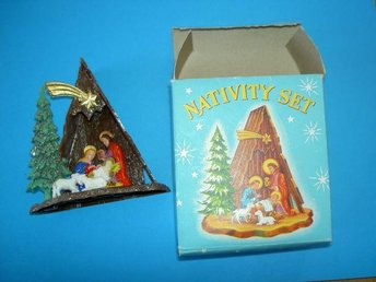 Julkrubba, Nativity set made in Hongkong, retroplast