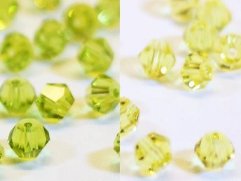 100st Tolstoy 4mm crystal bicone Olivine/Citrine - Duo Mix