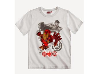 Avengers Assemble Vit T-shirt Iron Man 6 år 116 cl