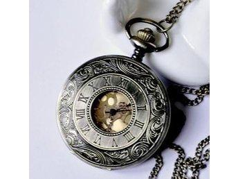Antik Fickur Klocka Hängsmycke Halsband Svart Romersk - Rökå - Antik Fickur Klocka Hängsmycke Halsband Svart Romersk - Rökå