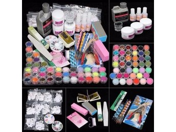 42 Acrylic Nail Art Tips Powder Liquid Brush Glitter Clipper Primer File Set