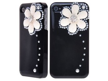 Snow Flower & Diamonds (Svart) iPhone 4/4S Skal