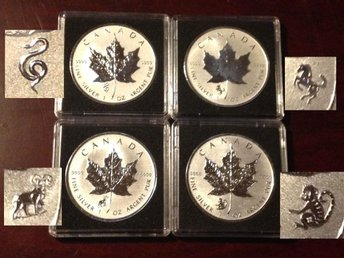 4 st Canadian Maple Leaf Frosted Reverse Proof Privy 2013-2016