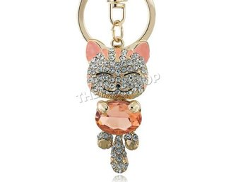 Katt Nyckelring Kristall Strass Orange