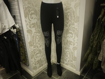 TIGHTS MED DÖSKALLAR I STRASS STL XL/XXL