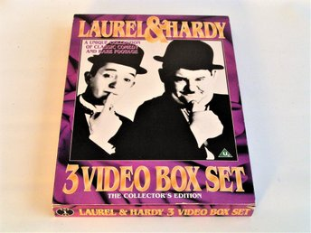 LAUREL & HARDY - 3 VIDEO VHS BOX SET COLLECTION EDITION