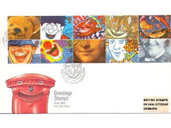 England, FDC 1990, Laughing faces, Högt värde!