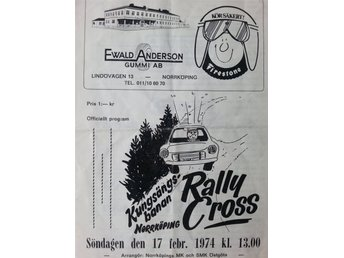 Program: RALLYCROSS Kungsängsbanan Norrköping 17/2 1974. Sv eliten