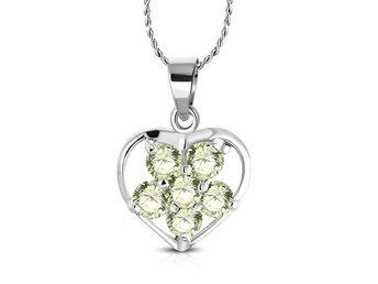 Halsband Hjärta   Blomma med Gröna Cubic.. (304735393) ᐈ Sustra på Tradera 1f13b840bd1ef